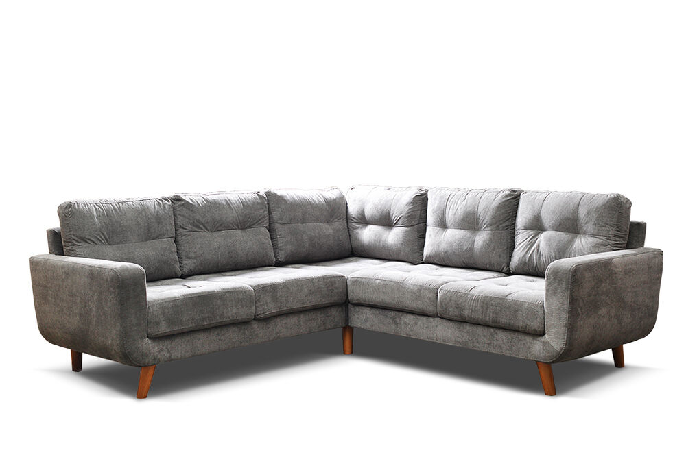 Huge Sale New Modern Aurora Corner Sofa In Grey Fabric 3