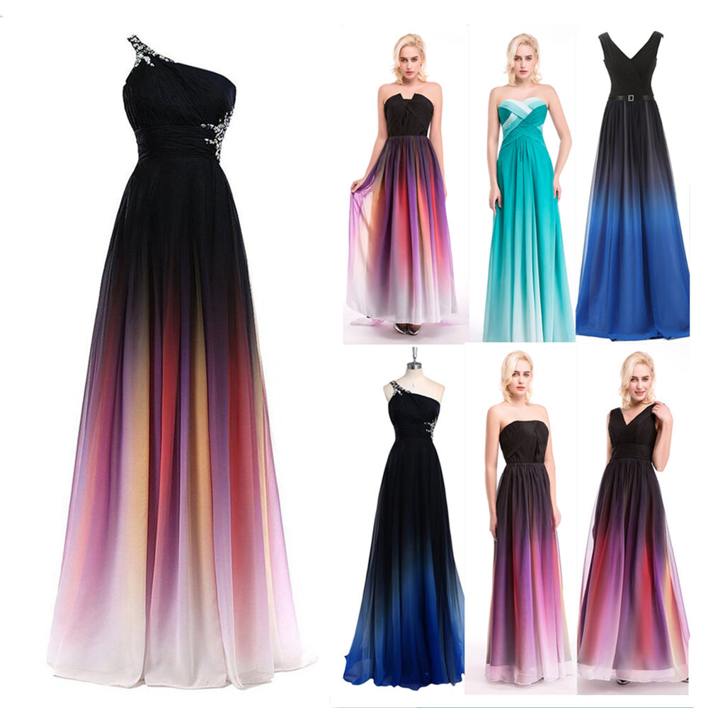 Ombre Wedding Dress: Ombre Long Chiffon Formal Prom Cocktail Party Ball Gown