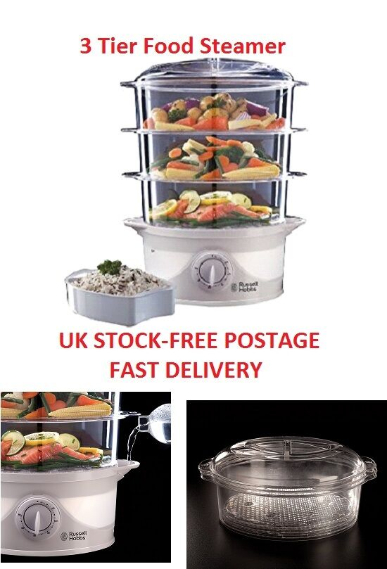 Large Electric Food Steamer ~ Food steamer tier large electric kitchen russell hobbs