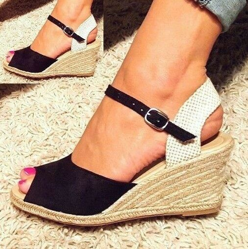 wedge sandals platform summer shoes espadrilles ankle. Black Bedroom Furniture Sets. Home Design Ideas