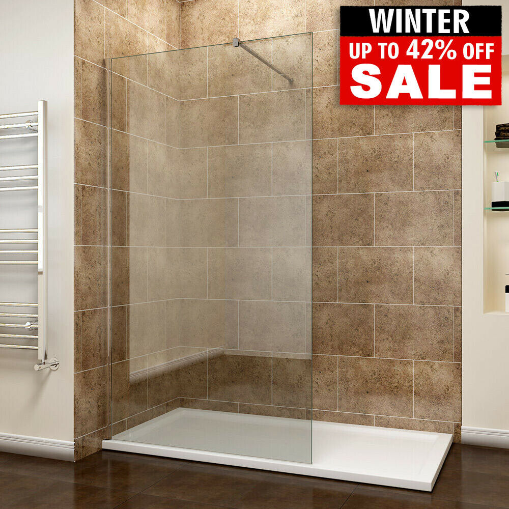 walk in wet room shower screen panel 8mm easyclean glass