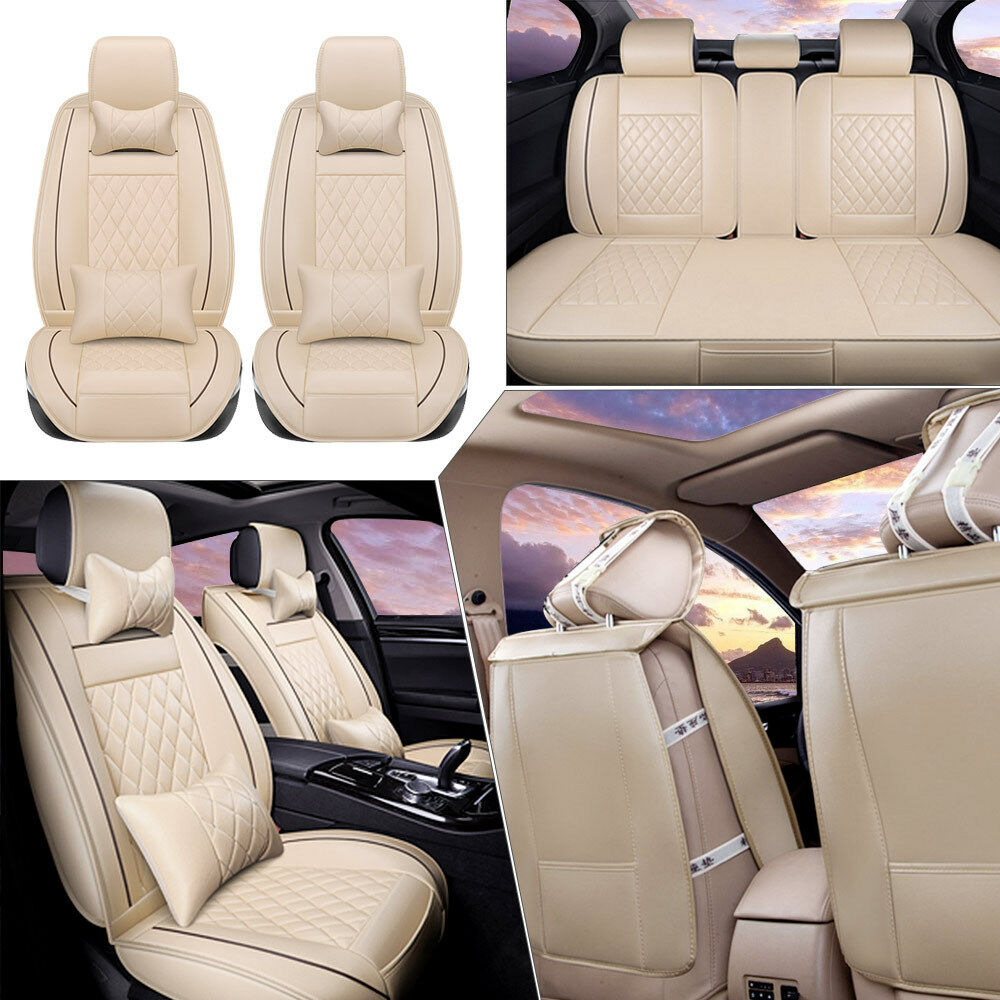 beige car seat cover pu leather front rear auto w neck lumbar pillow 5 seats m ebay. Black Bedroom Furniture Sets. Home Design Ideas