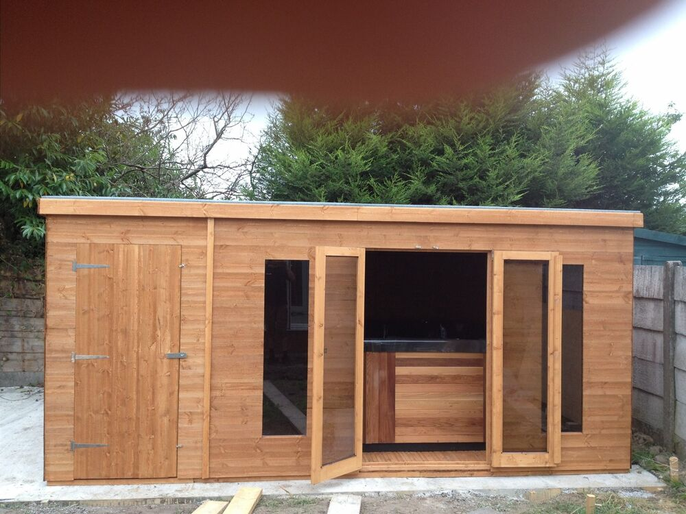 16ftx8ft combination summerhouse shed with partition ebay for Sheds for office use