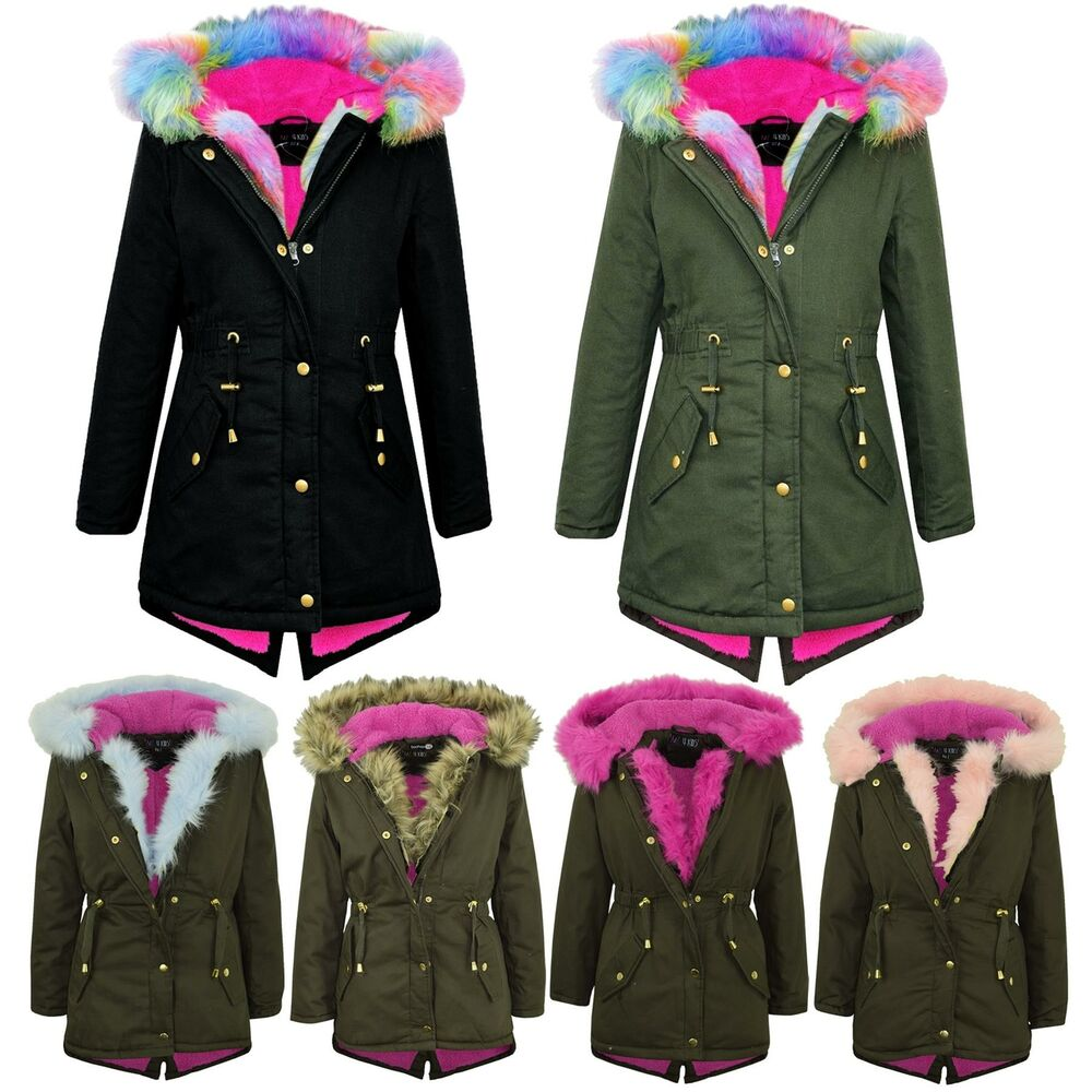 Kids Hooded Jacket Girls Faux Fur Parka School Jackets ...