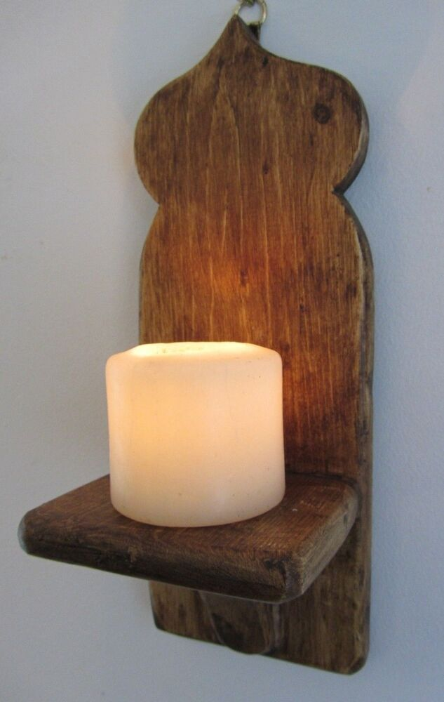 Wooden Wall Sconce Candle Holder : RECLAIMED WOOD MOROCCAN STYLE WALL SCONCE CANDLE HOLDER eBay