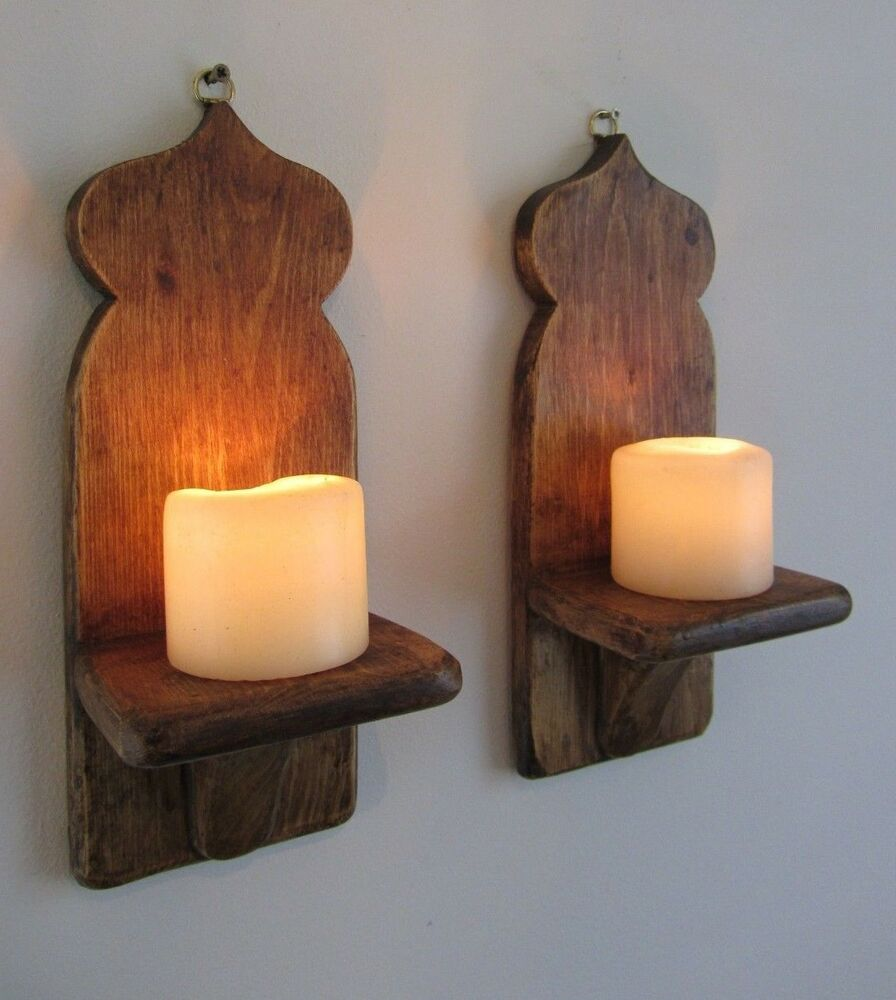 PAIR OF RECLAIMED WOOD MOROCCAN STYLE WALL SCONCE CANDLE HOLDERS eBay