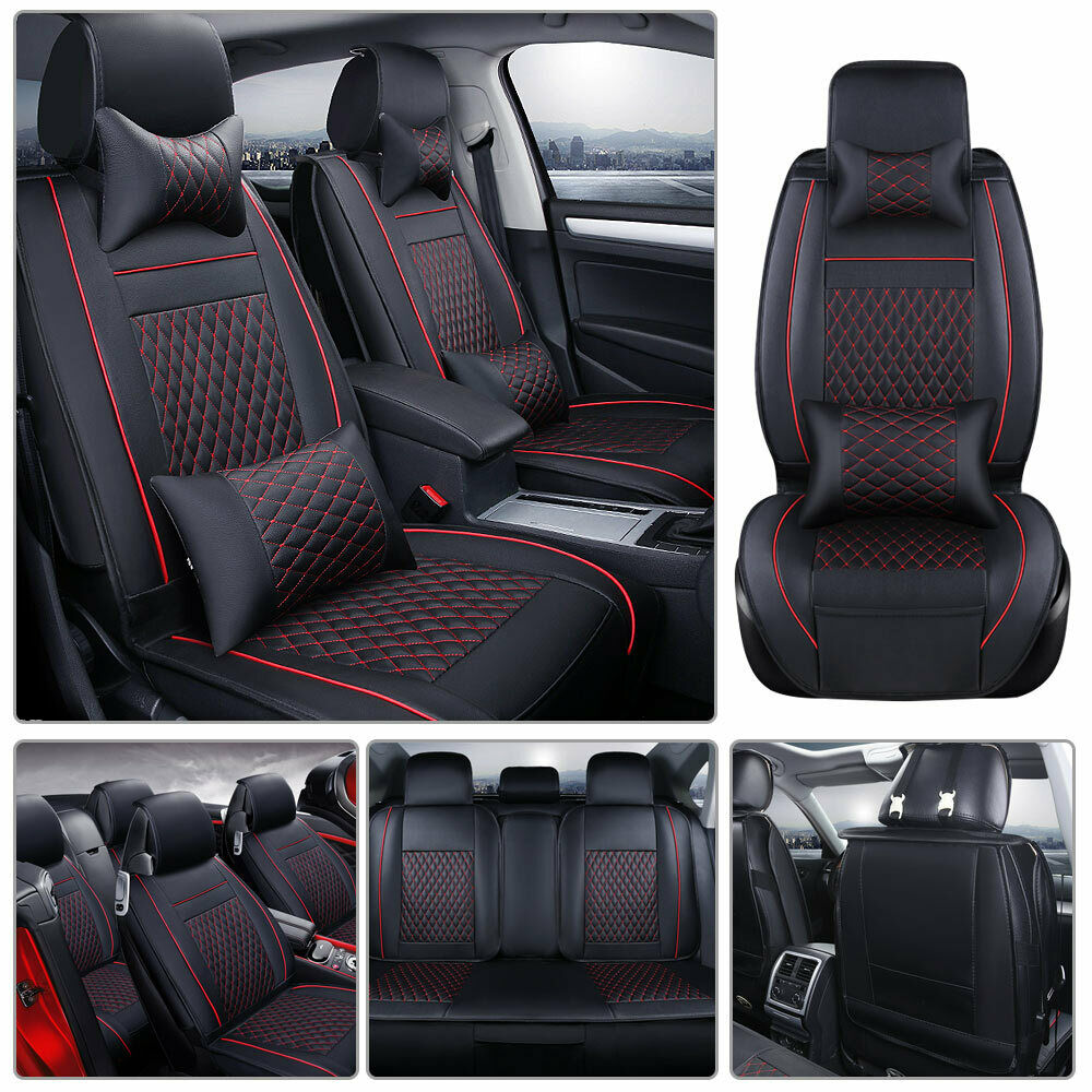 US Stocks 5-Seats Car Seat Cover PU Leather Front+Rear