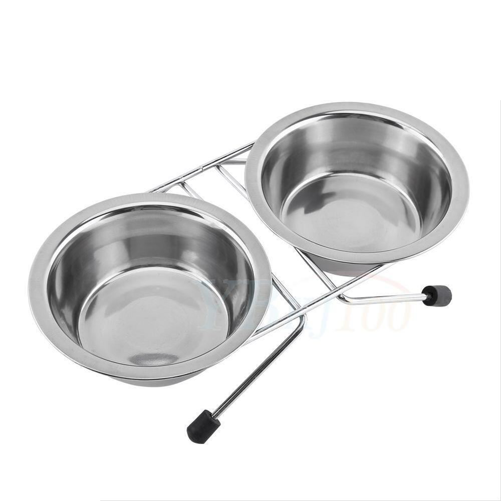 Stainless Steel Double Bowls for Pet Dog Cat Food Water ... - photo#30