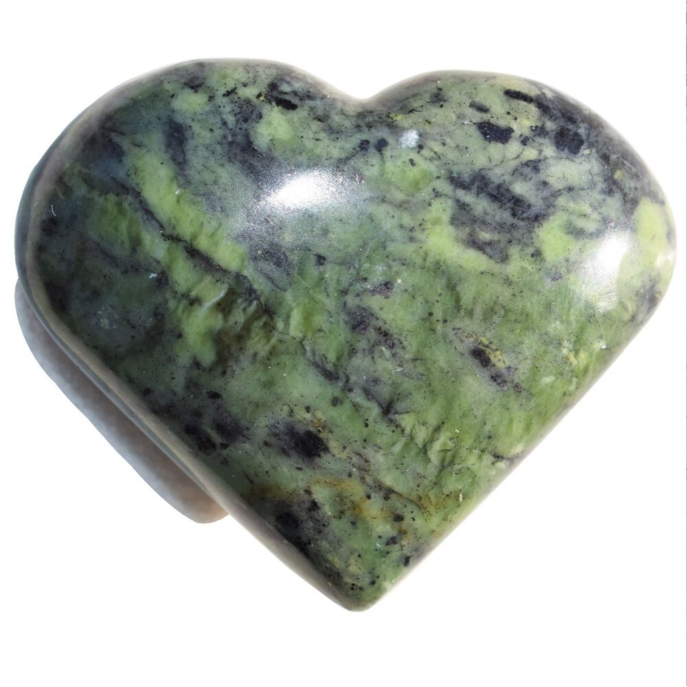 1 Md Nephrite Inca Jade Crystal Puffy Heart Palm Stone