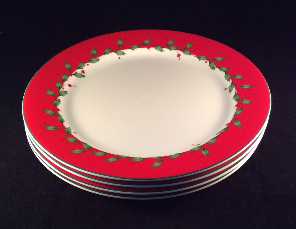 Lenox Christmas Holiday RED DINNER Plates Set Of 12 Brand New EBay