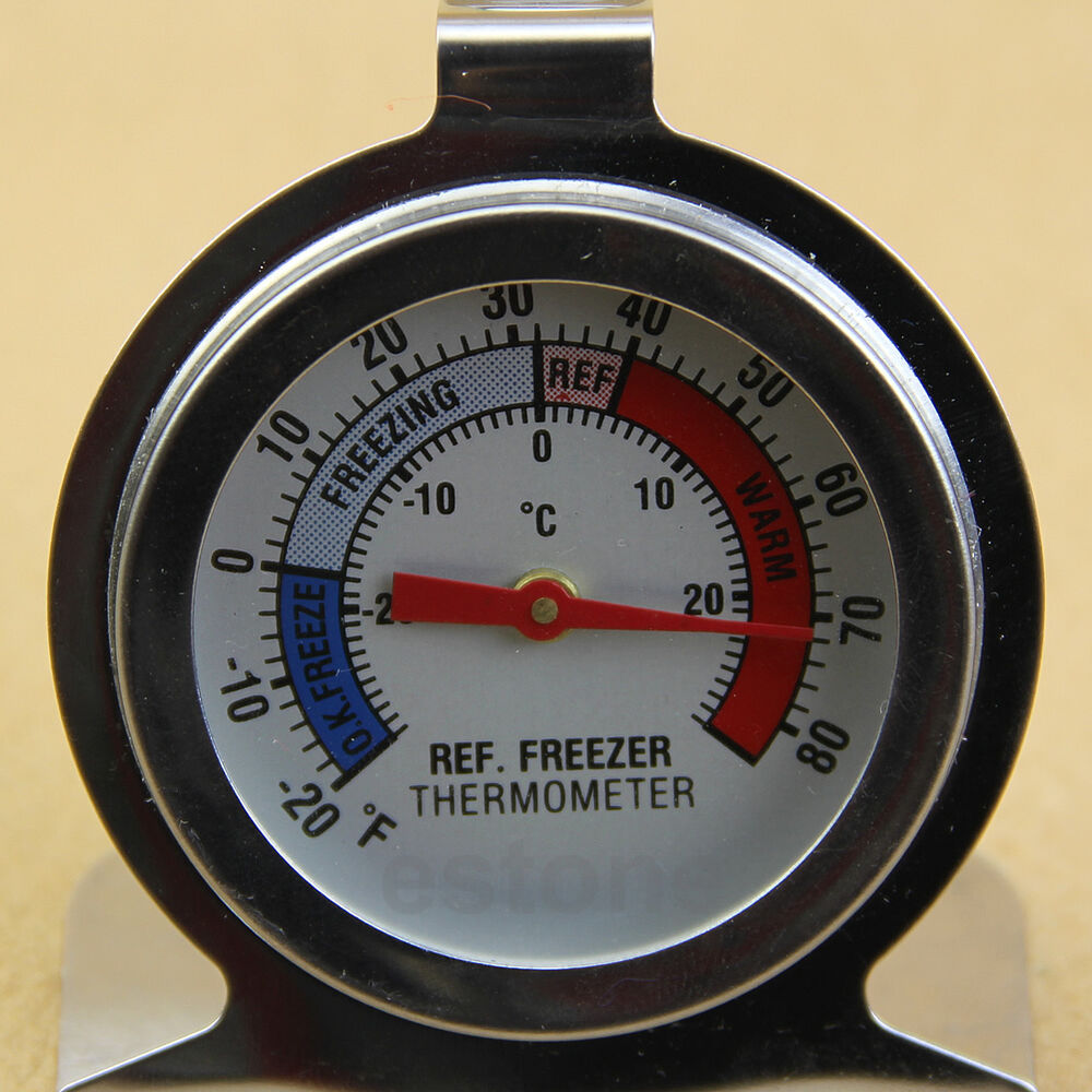 useful temperature refrigerator freezer dial type thermometer stainless steel ebay. Black Bedroom Furniture Sets. Home Design Ideas