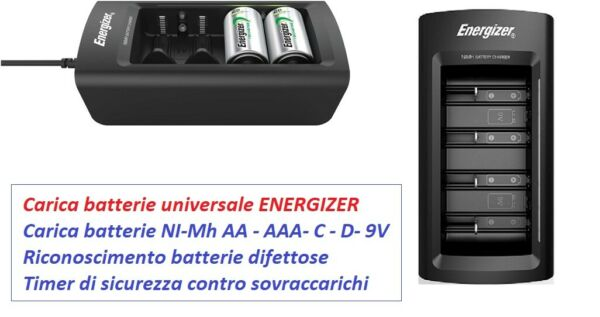 Caricabatterie universale ENERGIZER AA/AAA/C/D/9V   Nuovo modello