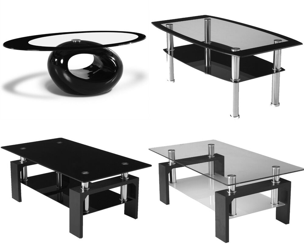 Black Glass Coffee Table Contemporary Modern Oval Living Room Chrome Rectangle Ebay