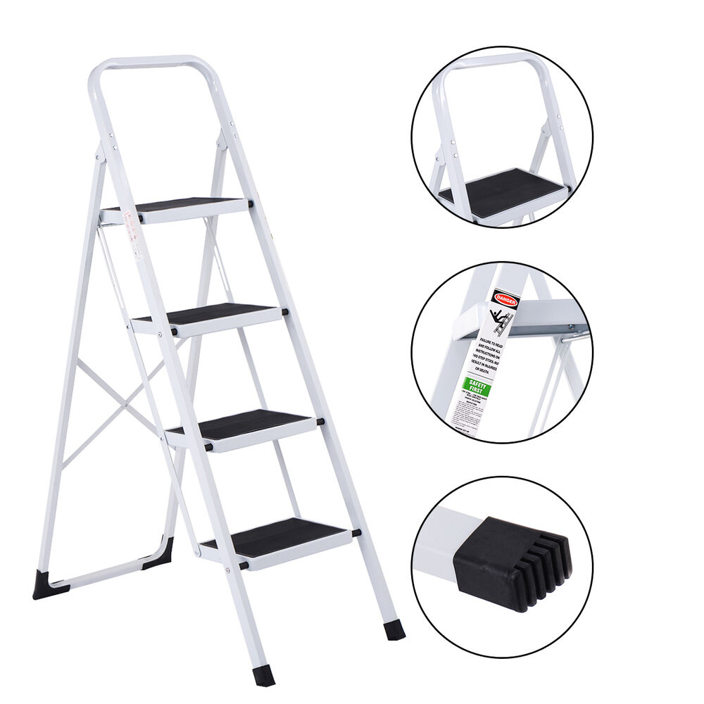 Non Slip 4 Step Ladder Folding Steel Work Platform Stool