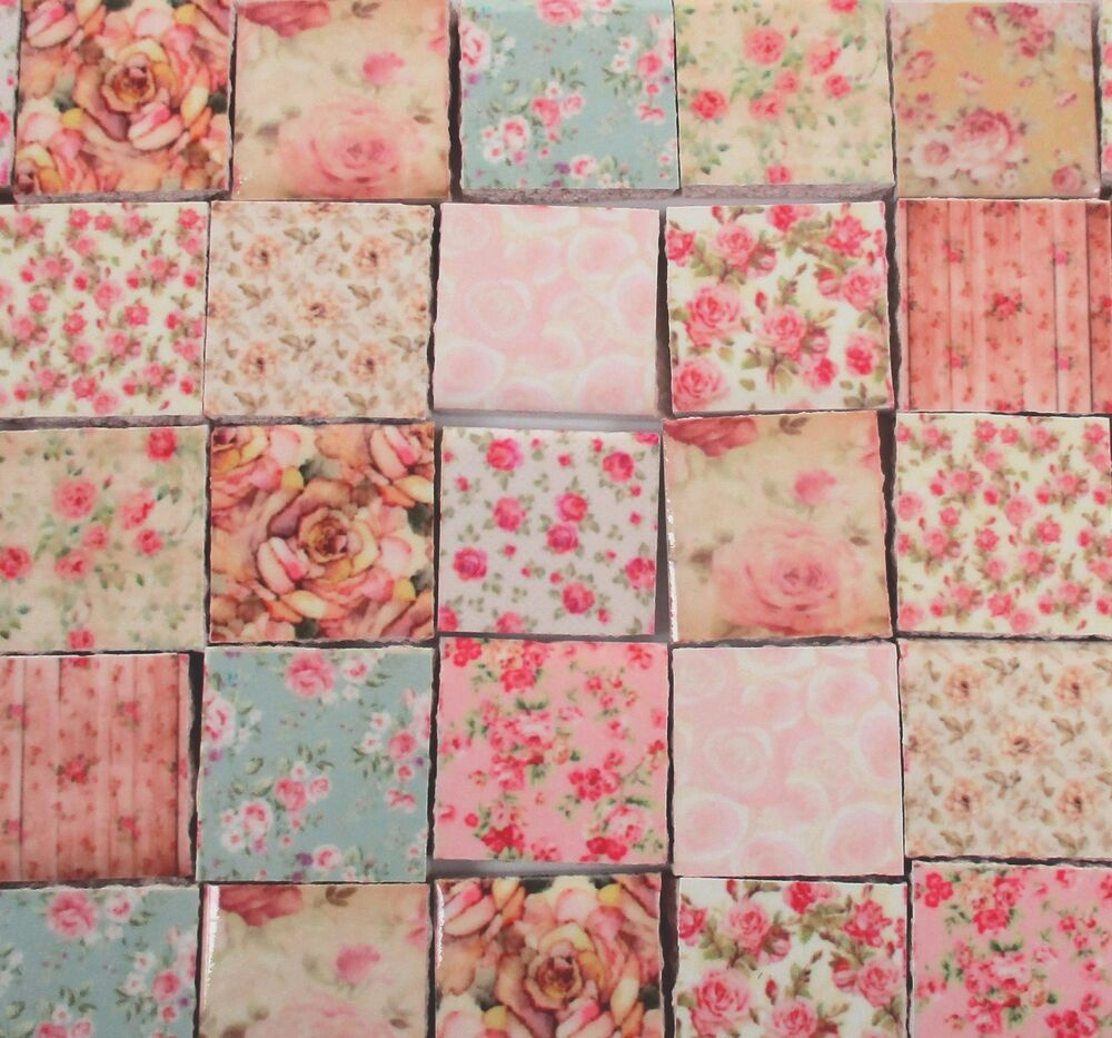 Ceramic mosaic tiles shabby chic roses flower pink mint for Shabby chic wall tiles
