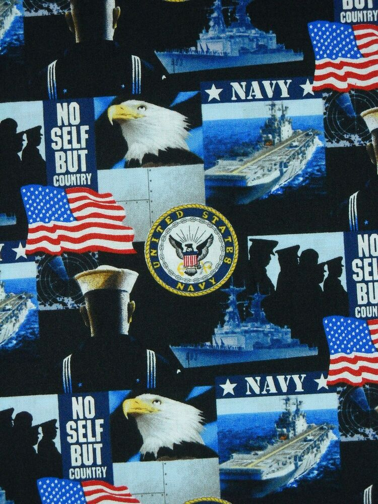 Patriotic Military Print Us Navy Ships Flags Allover Blue Cotton Fabric Bty Ebay