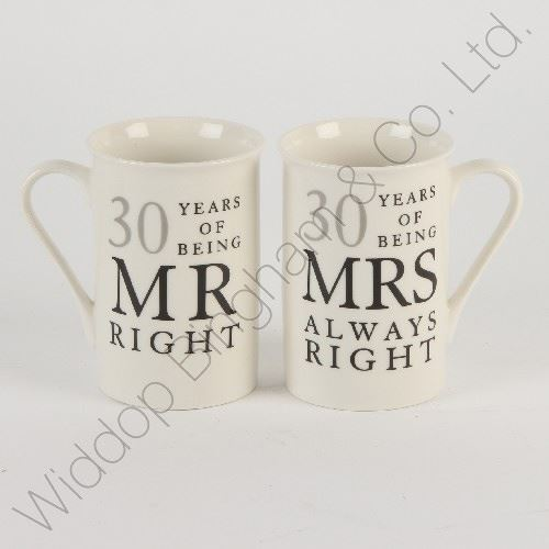What Is The 30th Wedding Anniversary Gift: 30th Pearl Wedding Anniversary Mugs Gift Set WG822