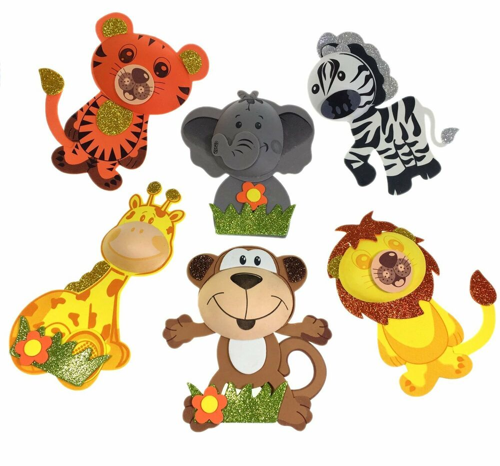Big size set of 6 12 safari jungle animals foam decoration for Animals decoration