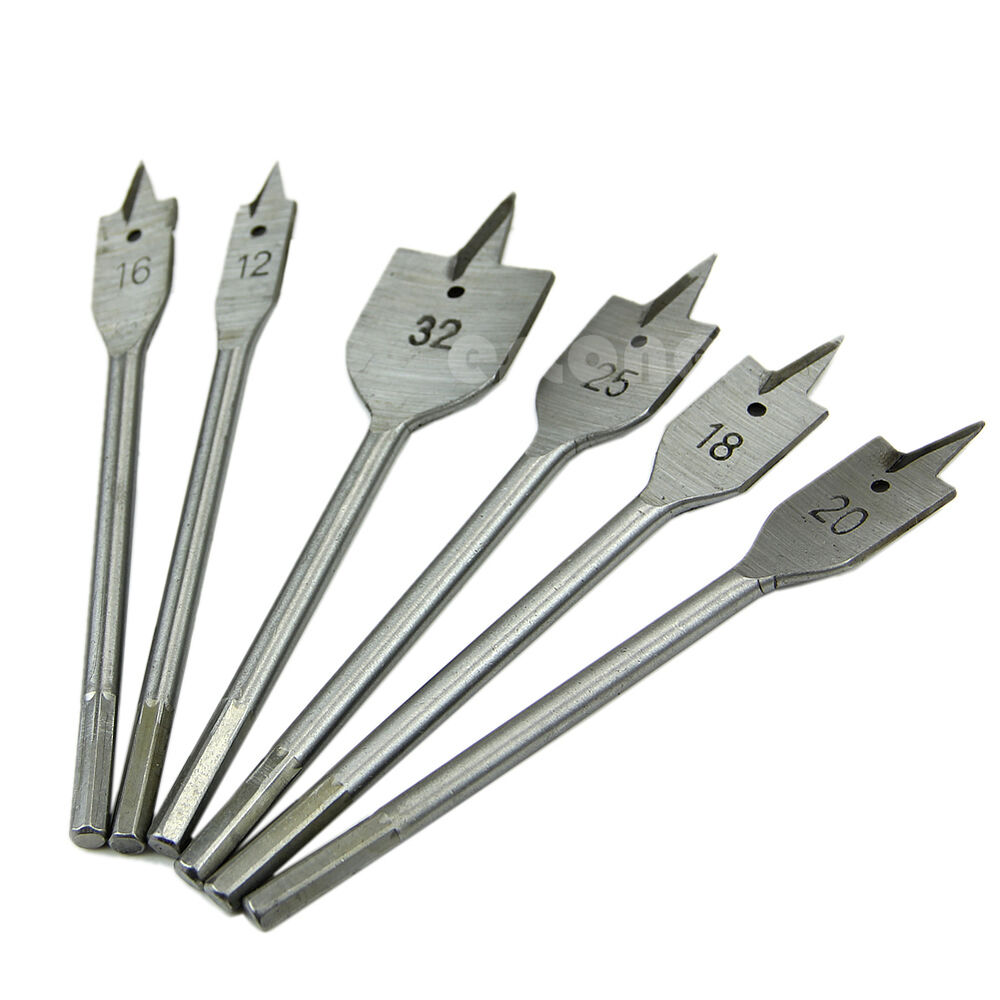 ... Set Tools Industrial Spade Paddle Flat Wood Boring Drill Bit | eBay