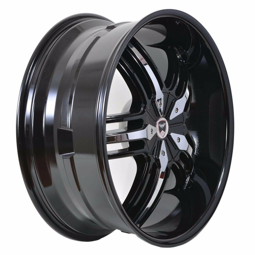 4 GWG WHEELS 20 Inch Black Chrome SPADE Rims Fits 5X115
