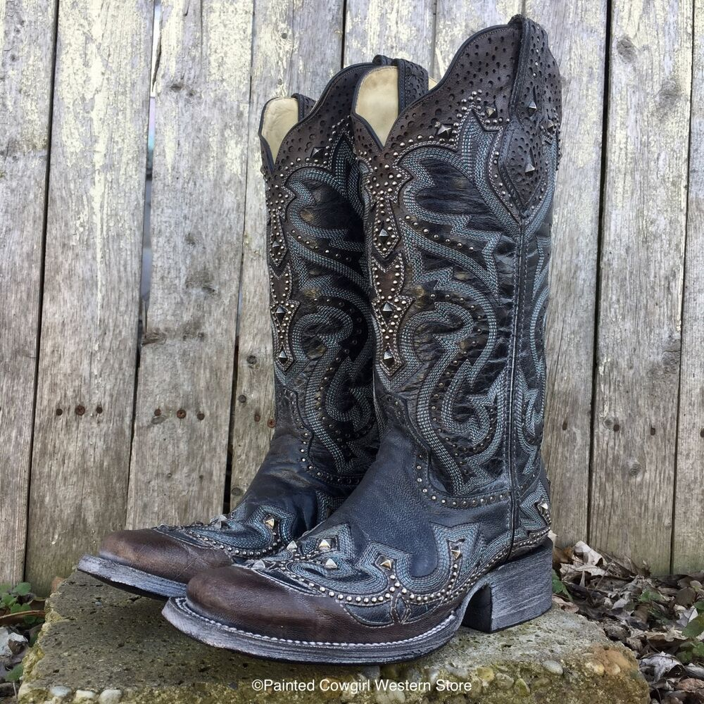 e85ff8bf835 Details about Corral Women s Black Brown Laser Embroidered Studded Western  Boots G1322 SALE!!!