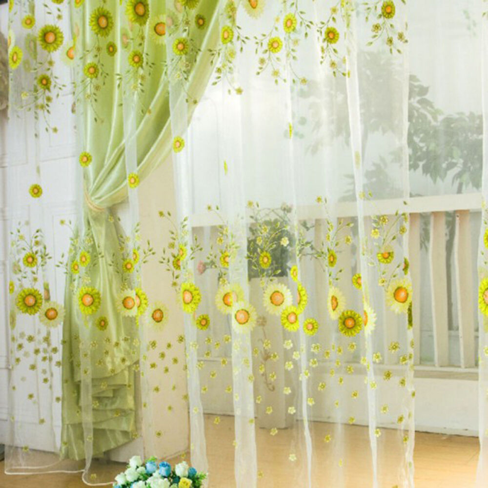raum sonnenblume muster voile fenster vorh nge blo es. Black Bedroom Furniture Sets. Home Design Ideas