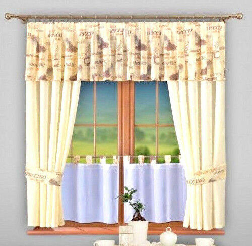 Set of 5 curtains cream kitchen ready made windows modern for Is ready set decor legit