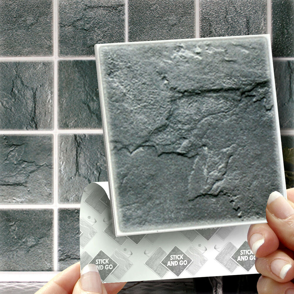 18 slate stick on wall tile stickers transfers for for Stick on tiles for bathroom