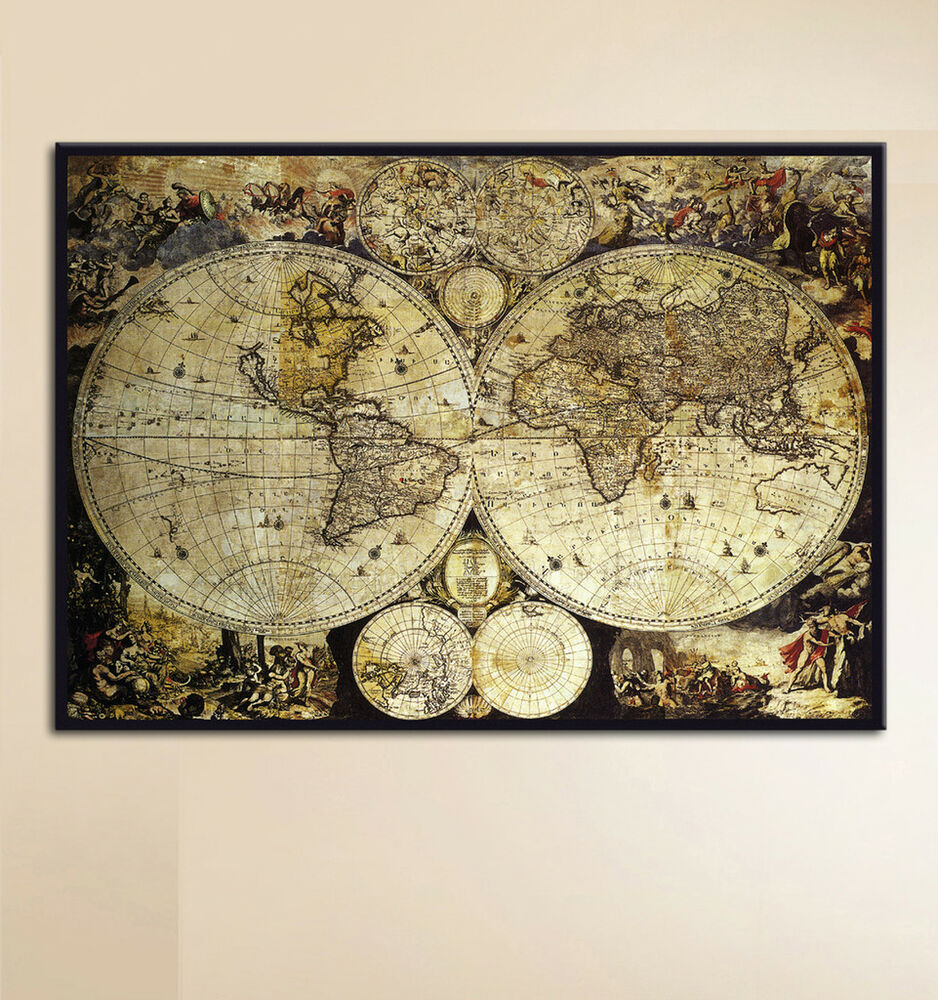 alte weltkarte worldmap bild bilder leinwand poster wandbild antike alte welt ebay. Black Bedroom Furniture Sets. Home Design Ideas