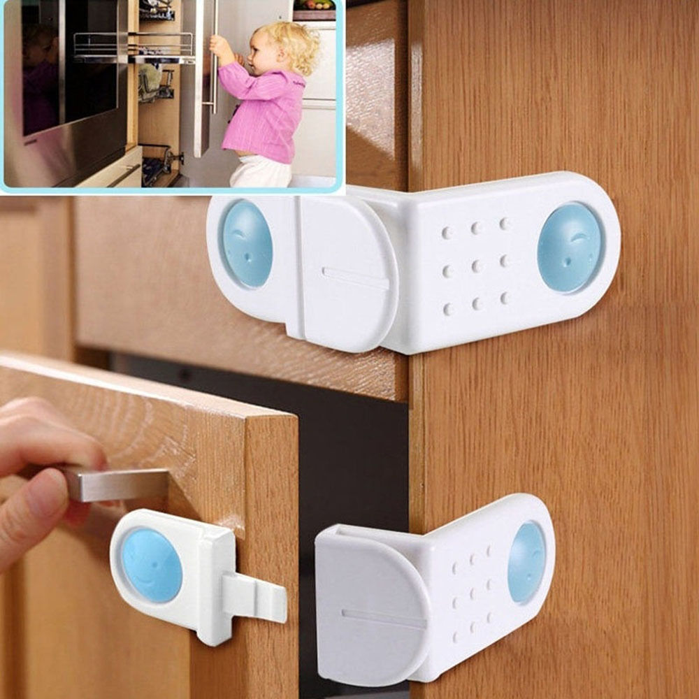 2pcs Toilet Door Baby Safety Lock Cabinet Drawer Cupboard