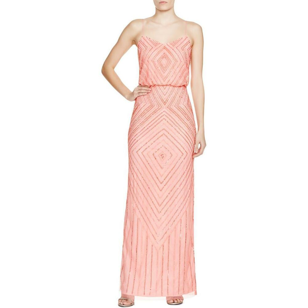 bca563cfe588 Details about Aidan Mattox ~ Coral Pink Deco Beaded Mesh Blouson Formal Gown  12 NEW $395