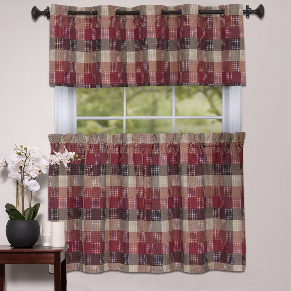 Kitchen Window Curtain Classic Harvard Checkered, Tiers Or