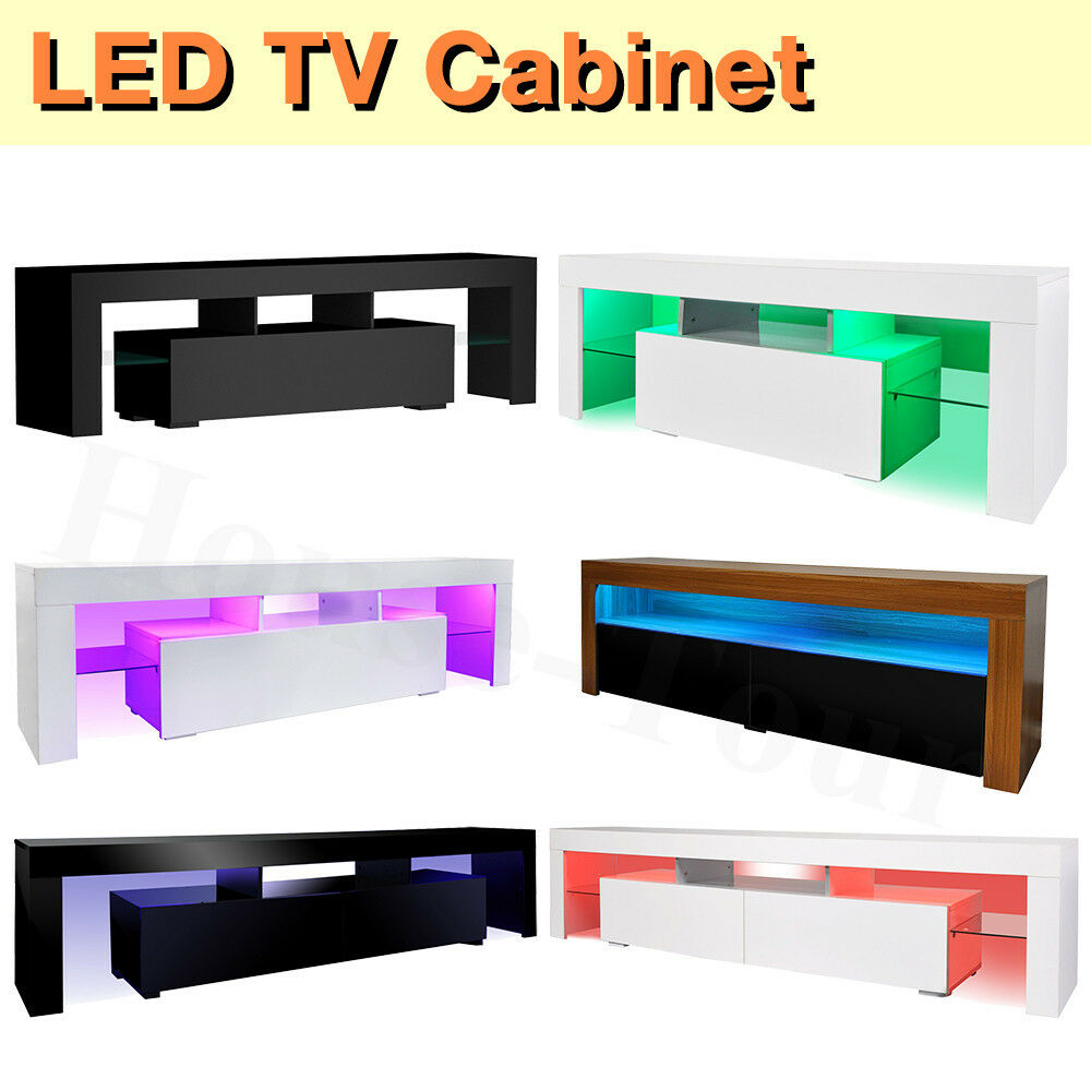 High Gloss Modern Tv Cabinet Unit Stand Furniture Free Led