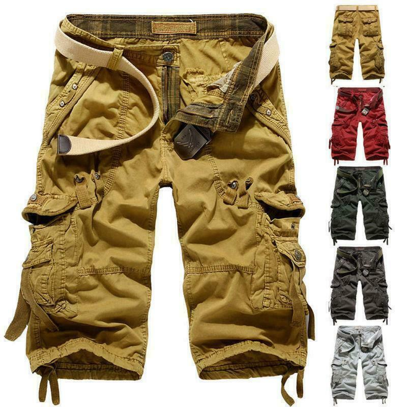 Mens Summer cotton casual Cargo Pants Below Knee Army ...