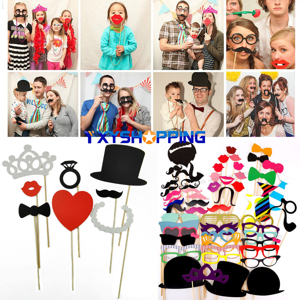 photo booth selfie props moustache on stick weddings christmas birthday decors ebay. Black Bedroom Furniture Sets. Home Design Ideas