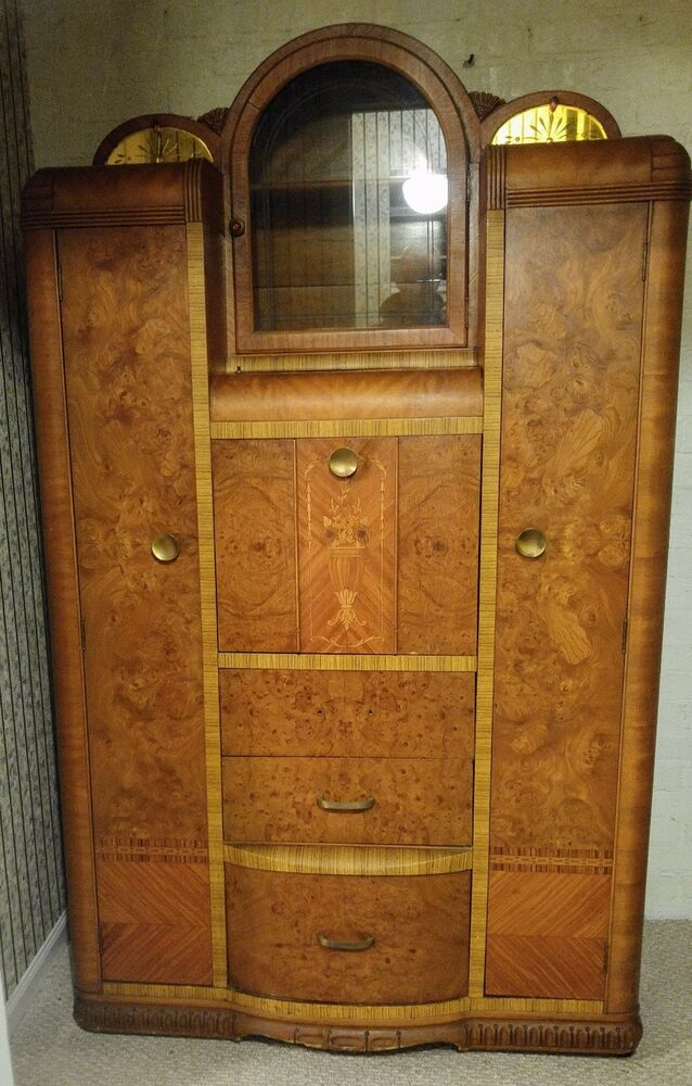 waterfall style art deco chifferobe armoire wardrobe closet secretary desk ebay. Black Bedroom Furniture Sets. Home Design Ideas