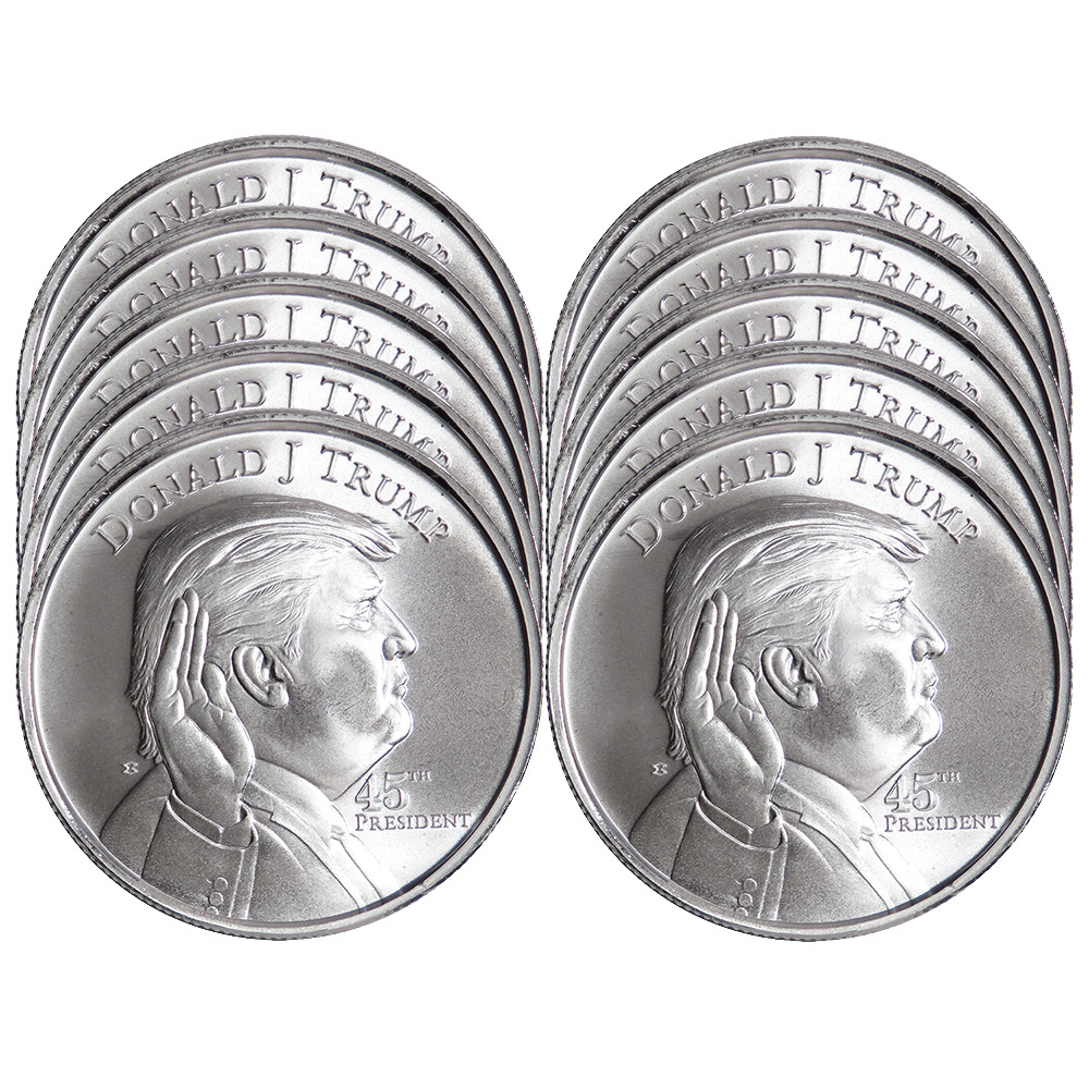 Lot Of 10 1 Troy Oz Donald Trump 999 Fine Silver Round
