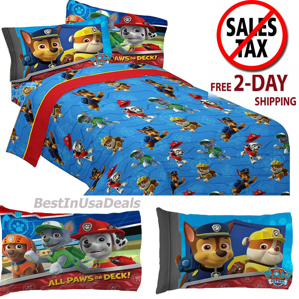 Toddler twin size bed sheets boys paw patrol rescue with for Twin size toddler bed