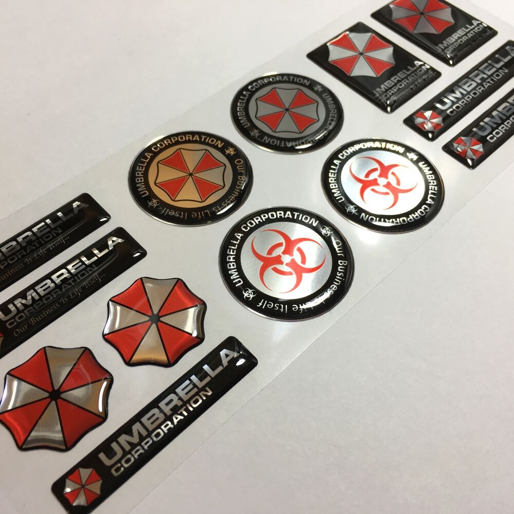 Umbrella Corporation Resident Evil Chrome 3d Domed Decal