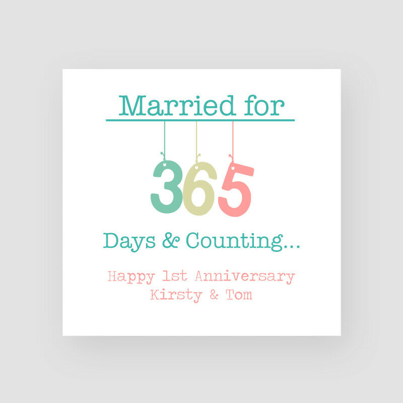 Personalised handmade 1st wedding anniversary card paper for What to get for first wedding anniversary
