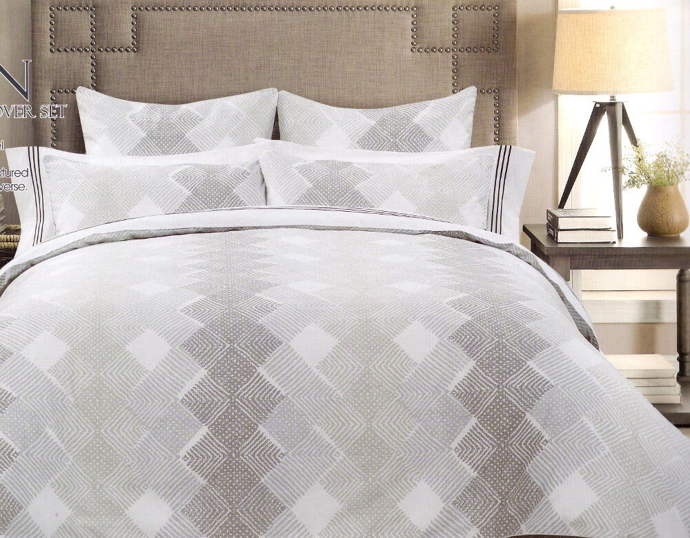 Hagen White Grey Taupe Queen King Quilt Cover Set Cotton