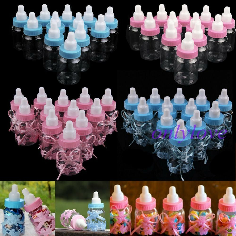 24 Fillable Bottles For Baby Shower Favors Blue Pink Party