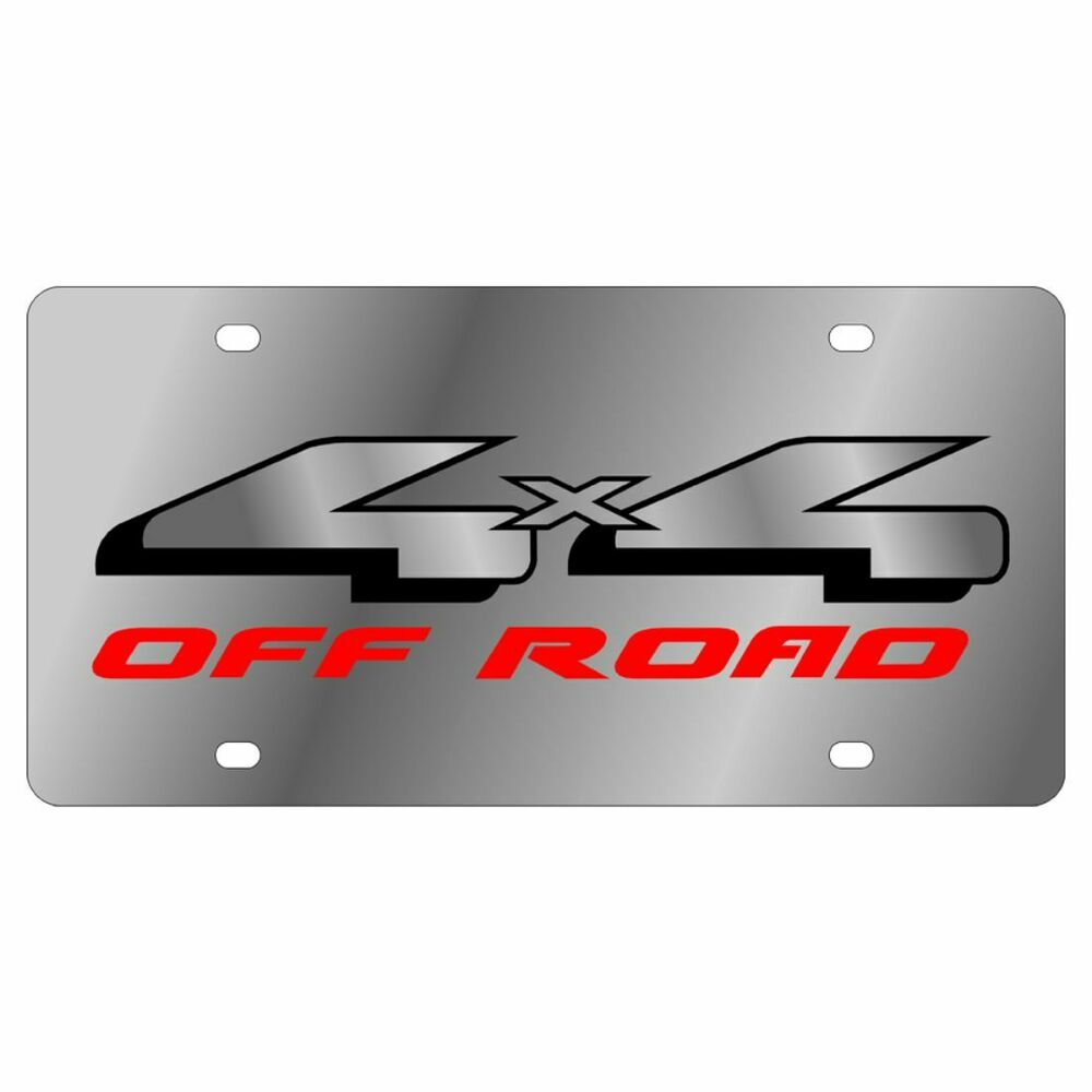 Stainless Steel Ford 4x4 Off Road Emblem Black Mirror Red