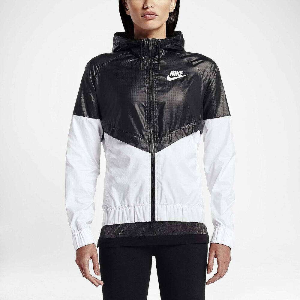 nike asian size women windrunner jacket black white sport running gym 804948 010 ebay. Black Bedroom Furniture Sets. Home Design Ideas