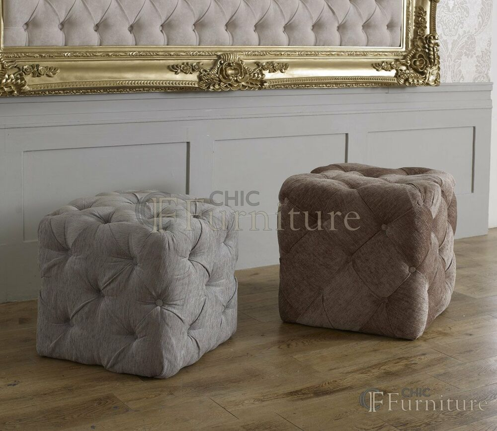 Chesterfield Buttoned Upholstered Cube Stool Dressing