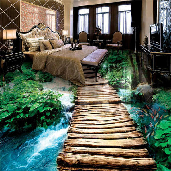 Hiking Wood Pathway Fish 3d Floor Mural Photo Flooring