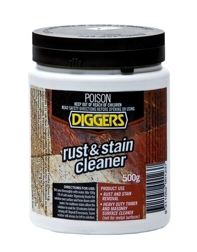 Oxalic acid timber cleaner 500g diggers rust and stain for Concrete stain remover