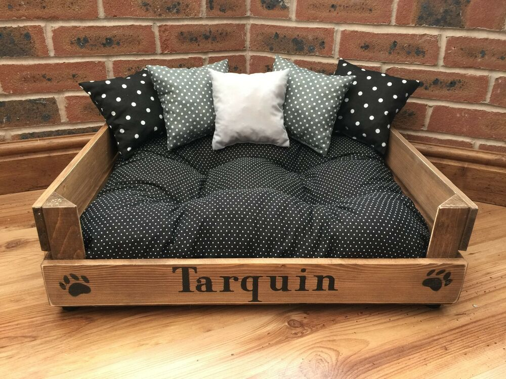 rustic pet bed with cushions puppy dog cat kitten pug. Black Bedroom Furniture Sets. Home Design Ideas