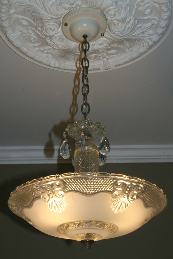 Antique Vintage Glass Deco Light Fixture Ceiling Chandelier Frosted EBay