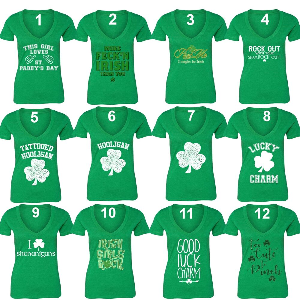 Details about Women s St. Patrick s Day Shamrock Clover Paddy s Irish  V-neck T-Shirt Green 0b3f5fb8e